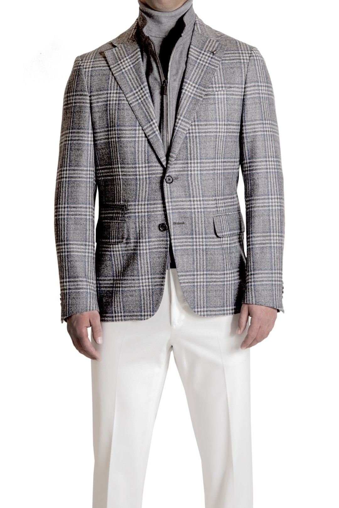 CC COLLECTION CORNELIANI JACKET, PAL ZILERI TROUSER, CORTIGIANI PULLOVER